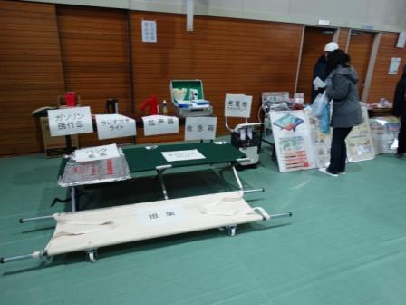 各種防災備品の展示